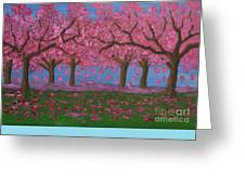 Pink Garden, Oil Painting Greeting Card