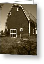 Barn And Wild Flowers Sepia Greeting Card