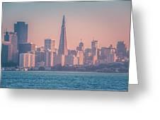 San Francisco California City Skyline At Spring Sunset Greeting Card