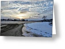 Sunset Over Obear Park In Snow Greeting Card