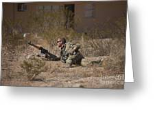 U.s. Soldier Conducts A Combat Training Greeting Card