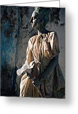 Woman In Bronze Statue Look With Patina Body Paint Greeting Card