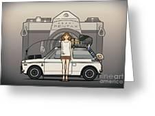 Honda N600 Rally Kei Car With Japanese 60's Asahi Pentax Commercial Girl Greeting Card