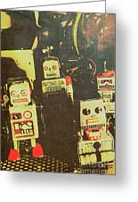 60s Cartoon Character Robots Greeting Card