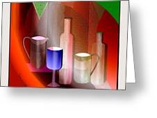 643  Still Life  With Bottles And  Cups  V  Greeting Card