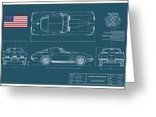 67 Corvette 427 Coupe Blueplanprint Greeting Card
