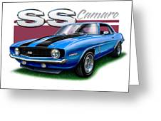 69 Camaro Ss In Blue Greeting Card