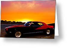 69 Camaro Up At Rocky Ridge For Sunset Greeting Card