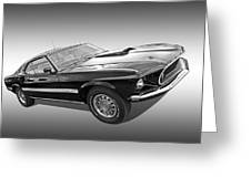 69 Mach1 In Black And White Greeting Card