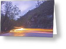 Automobile Traffic Long Exposure At Dusk In Pisgah National Park Greeting Card