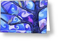 7 Birds On A Tree Greeting Card