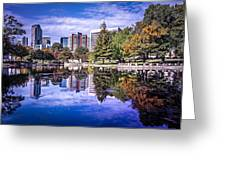 Charlotte City North Carolina Cityscape During Autumn Season Greeting Card
