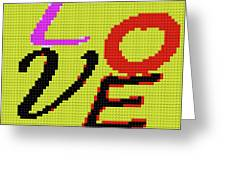 Graphic Display Of The Word Love  Greeting Card