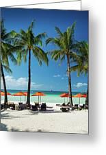 Main Beach Of Tropical Paradise Boracay Island Philippines Greeting Card