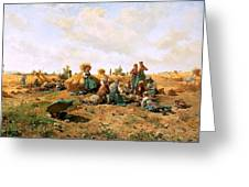 Peasants Lunching In A Field Daniel Ridgway Knight Greeting Card