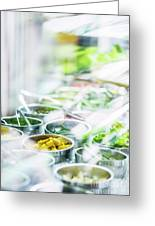 Salad Bar Buffet Fresh Mixed Vegetables Display Greeting Card