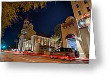 St Augustine City Street Scenes Atnight Greeting Card