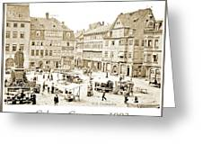 Street Market, Coburg, Germany, 1903, Vintage Photograph Greeting Card