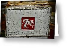 7 Up Vintage Cooler Greeting Card