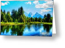 Landscape Drawing Nature Greeting Card