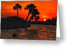 75 Island Sunset Greeting Card