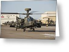 Ah-64d Apache Longbow Taxiing Greeting Card