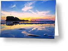 Beach Skyset Sunset On A Perranporth Beach Cornwall Greeting Card
