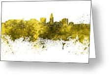 Lincoln Skyline In Watercolor Background Greeting Card