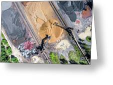 Mining Excavator On The Bottom Surface Mine.  Greeting Card