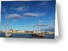 Old Sailing Boats In Helsinki City Harbor Port Finland Greeting Card