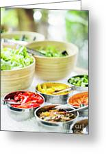 Salad Bar Buffet Fresh Mixed Vegetables Display Greeting Card