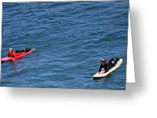 Surfer On Board. Greeting Card