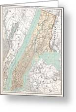 Vintage Map Of New York City  Greeting Card