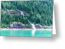 Waterfall In Tracy Arm Fjord, Alaska Greeting Card