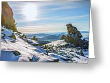 Amazing Winter Landscape With Frozen Snow-covered Trees On Mountains In Sunny Morning  Greeting Card