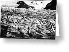 ash covered Skaftafell glacier and end moraine Vatnajokull national park in Iceland Greeting Card