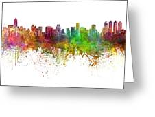 Bangkok Skyline In Watercolor Background Greeting Card
