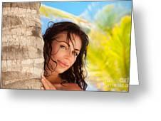 Beautiful Woman On The Beach Greeting Card