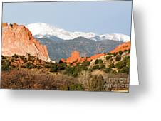 Garden Of The Gods And Pikes Peak Greeting Card