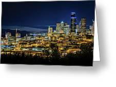 Seattle Skyline At Night Greeting Card
