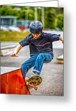 skate park day, Skateboarder Boy In Skate Park, Scooter Boy, In, Skate Park Greeting Card