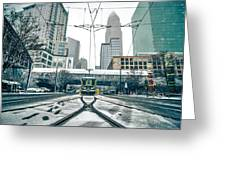 Streetcar Waiting For Passengers In Snowstrom In Uptown Charlott Greeting Card