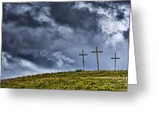 Three Crosses On Hill Greeting Card