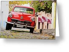 Vintage Car In Colonia Del Sacramento, Uruguay Greeting Card