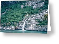 Waterfall In Tracy Arm Fjord, Alaska Greeting Card