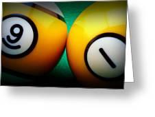 91 Billiards Vignette Greeting Card