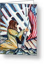 911 Cries For Jesus Greeting Card by Mindy Newman
