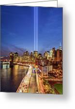 911 Tribute In Light In Nyc II Greeting Card