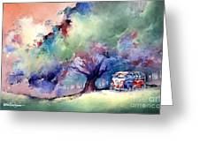 A 23 Window Vw Bus At Rest Greeting Card