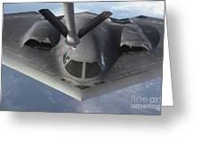 A B-2 Spirit Bomber Prepares To Refuel Greeting Card